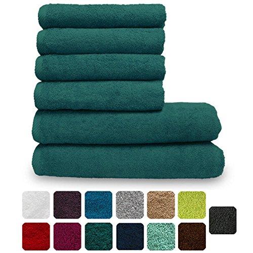 Lanudo® Luxus Handtuch-Set 600g/m² Pure Line 100% Baumwolle   2 Badetücher/Duschtücher 70x140 cm und 4 Handtücher 50x100 cm   6-teilig   Farbe:Petrol-Blau