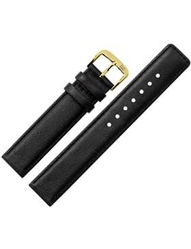 Uhrenarmband 20 mm Leder schwarz Naht - inkl. Federstege & Werkzeug - Ersatzarmband aus echtem Schweinsleder für...