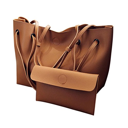 ESAILQ 2PCS Mode Femmes Litchi Motif en cuir sac à bandoulière + sac à main en embrayage