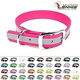 LENNIE BioThane Halsband, Dornschnalle, 19 mm breit, Größe 26-32 cm, Neon-Pink-Reflex, Aufdruck möglich