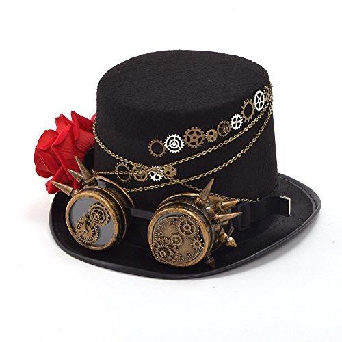 eampunk Hut Gefieder Gang Brille Gotisch Hut Viktorianisch Cosplay Hut (A) (Gotische Viktorianische Kostüme)
