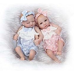 """Terabithia Mini 10"""" Realista Reborn bebé muñecas de Silicona de Cuerpo Completo Gemelos recién Nacidos"""