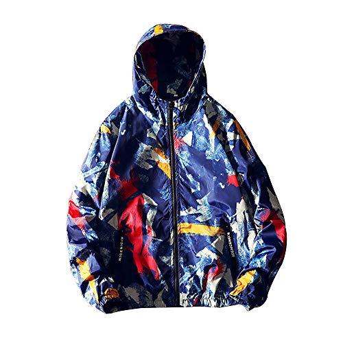 Xmiral Herren Jacke Mantel Camouflage Patchwork Langarm Sport Hoodies Dünn Outwear (4XL,Blau)