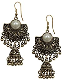 ENERGICO Stylish Party Wear German Silver Chandbali In Antique Gold Tone With Pearl Jhumka Jhumki Earrings For...