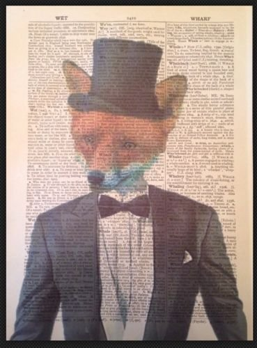 fox-vintage-dictionary-page-print-wall-art-picture-hipster-quirky-animal-top-hat
