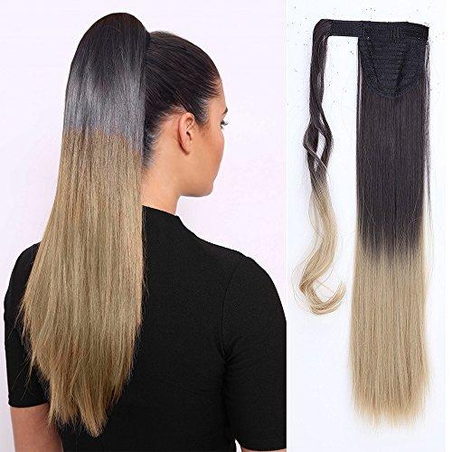 Coda di cavallo extension capelli clip 58cm sintetici lunghi lisci ponytail extension - castano scuro a biondo cenere