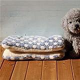 elvnx Hundebett, warm, weiche Haustierdecke, Katzenstreu, Welpen-Schlafmatratze, Kissen für kleine und große Hunde, Blau gepunktet, 67x48cm