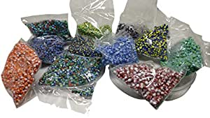 Aumni Crafts 10 Unique Striped Twin Color & Tri-Color Glass Seed Beads for Jewellery Making 2.5x2mm Non-Uniform Round (20 Grams Each Colors, Total 200 Grams, Approx 6700 Beads)