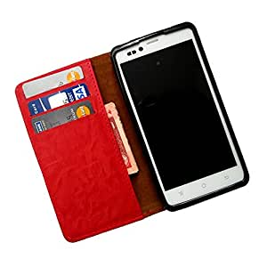 i-KitPit PU Leather Wallet Flip Case For Lava Xolo Q1000s (RED)