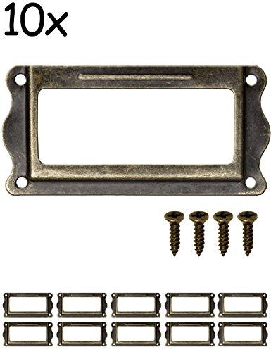 FUXXER® - 10x Etiketten-Fenster Antik Design | Messing Bronze Antik Optik | für Apotheker-Schränke, Kartei-Schubladen, Küchen | 64 x 32 mm, 10er Set (Restaurierung Schränke)