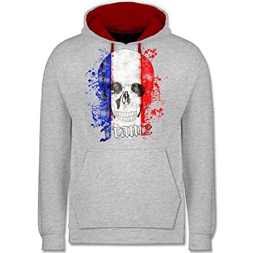 Fußball-WM 2018 - Russland - France Schädel Vintage - Kontrast Hoodie Grau Meliert/Rot