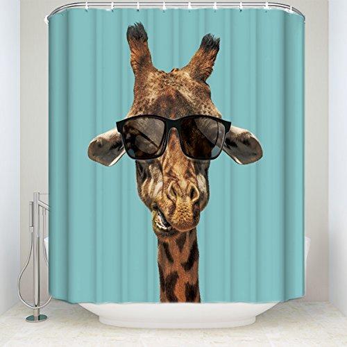 KAROLA Wasserdicht Duschvorhang, Stoff mit Haken (behandelt zu widerstehen Verschlechterung von Mehltau)-Giraffe Tragen Sonnenbrille Print 54x78inch Giraffe
