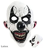 3/4 Maske Horror-Clown, weiß-schwarz, Latex