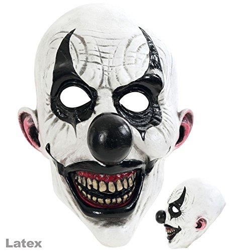 3/4 Maske Horror-Clown, weiß-schwarz, Latex (Clown Maske)
