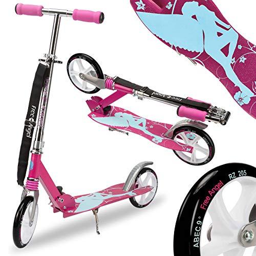 Deuba Funsport Scooter inkl Tragegurt Roller Stoßdämpfer ABEC9 205mm klappbar CrossAngel Tretroller Kinderroller Cityroller