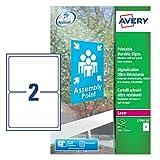 Avery L7090-10 Outdoor Klebefolie wetterfest, UV-beständig, 2 pro A5-Bogen, 190 x 135 mm, 20 Stück