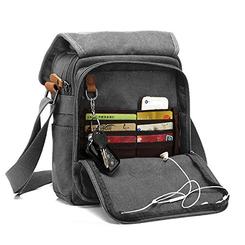 CHEREEKI Messenger Bag [Nuovo Arrivo], Multiple Pockets Canvas Bag Borsa Vintage da Uomo Messenger Bag Casual Sling Shoulder Pack Croce Body Satchel per lavoro, Scuola (Grigio)