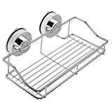 Annstory Super Powerful Vacuum Suction Stainless Steel Bathroom Shelf Shower Caddy Rack Storage Basket with Locking Suction