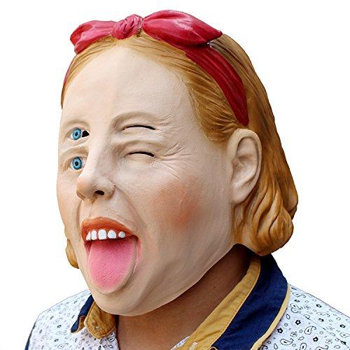 Four Eyes Woman Vier Augen Frau Maske mask Kopf aus sehr hochwertigen Latex Material mit Öffnungen an Augen Halloween Karneval Fasching Kostüm Verkleidung für Erwachsene Männer und Frauen Damen Herren gruselig Grusel Zombie Monster Dämon Horror Party Party