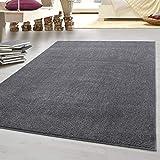 HomebyHome tappeto moderno a pelo corto, economico, tinta unita mélange, per salotto, camera da letto, corridoio, cucina, 100% polipropilene, grigio chiaro, 160 x 230 cm