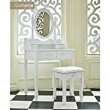 Joolihome Dressing Table Makeup Desk Storage Oval Mirror Bedroom with 4 Drawer 1 Free stool
