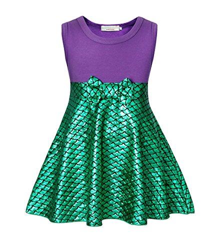 AmzBarley Prinzessin Kleine Meerjungfrau Kostüm Kinder Mädchen Ariel Mermaid Kleid, Grün, 3-4 Jahre