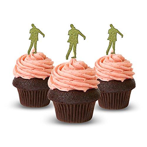 Zombie Halloween Cupcake Topper 12 Stück pro Packung Dekoration Kuchen Glitzer Karte Stock Gold (Zwölf Cupcakes Zu Halloween)