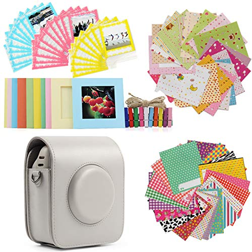 Jinshen Bundle Kit Zubehör, beige, Schutztasche, Schultertasche, Fotorahmen, Holzclips, Spitzentasche, Stickerbordüre, Set für Fujifilm Instax Square SQ20 Kamerafilme -