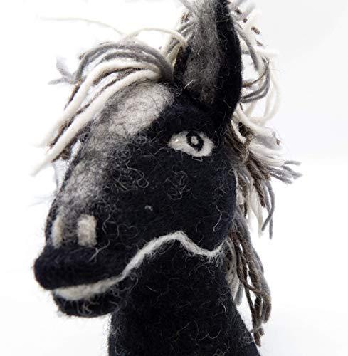 Filztier Tier-Eierwärmer Pferd schwarz aus Filz Handarbeit Ostern gefilzte Tierfigur - Mädchen Schwarzen Filz