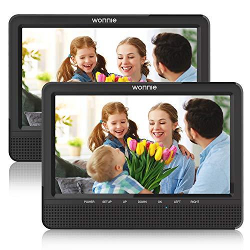 """WONNIE 10,5"""" Tragbare Auto 2 Monitore DVD Player 4 Stunden Kopfstütze Monitor 1024 * 600 Bildschirm Kopfstütze montieren, Support USB/SD/AV IN&Out, Car Reiseunternehmen für Familie (1Host +1 Slave)"""
