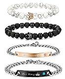 Adramata Couple Armband Geschenke Für Den Partner Pärchen Paar Armbänder King and Queen Gravur Schmuck