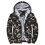 TIFIY Herbst Herren Camouflage Kapuzenpullover Winter Basic Warm Fleece Zipper Pullover Jacke Outwear Designed Coat