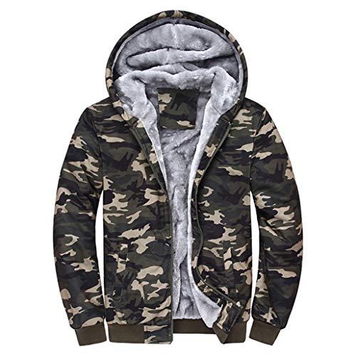 TIFIY Herbst Herren Camouflage Kapuzenpullover Winter Basic Warm Fleece Zipper Pullover Jacke Outwear Designed Coat