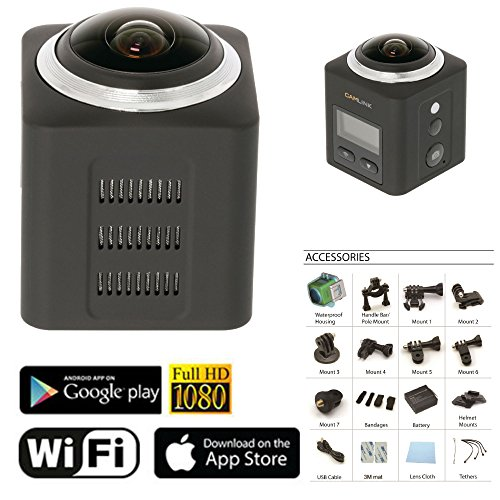 Eurosell 360 ° Grad Profi Panorama VR Video Kamera - Actioncam - Wlan 2K Action Cam wasserdicht + Zubehör Set