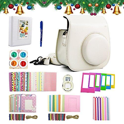 Shaveh Fujifilm Instax Mini 8 Mini 9 Accessori, 11 in 1 Set di pacchetti per fotocamere Includono telecamera/Album/Selfie Lens/Filtri colorati/Wall Hang Frames/Cornici per film/Bordo Stickers/Corner Stickers/Pen (Bianca)