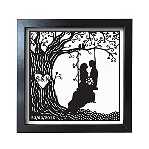 Personalised Couple on Swing Frosted Frame Wedding Aniversary by Heartstring Design