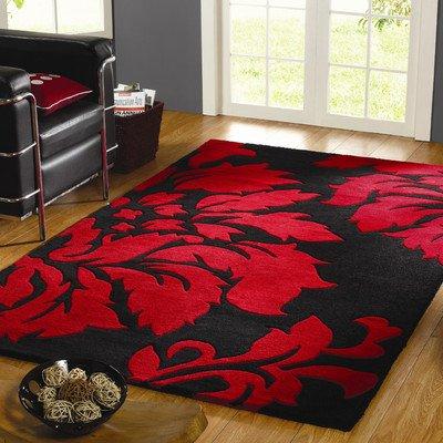 Abbey-Carpets Decotex Matisse Wollteppich, Schwarz/Rot, Moderne Teppich Größe: 120 cm x 180 cm