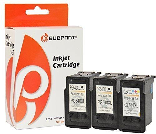 Bubprint 3 Druckerpatronen kompatibel für Canon PG-540 XL CL-541 XL für Pixma MG2100 MG2150 MG2200 MG2250 MG3150 MG3250 MG3255 MG3500 Schwarz Color