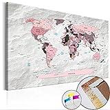 Weltkarte Pinnwand 120x80 cm Leinwand   Bilder Leinwandbilder - Fertig aufgespannt auf dicker 10mm Holzfasertafel! Aufhängfertig! Auch als Korktafel nutzbar! XXL Format - PWC0033b1XL