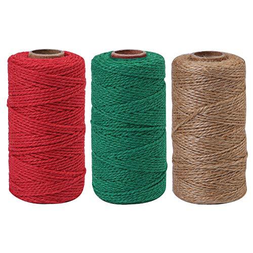 Elcoho 3 Rollen 984 Fuß Weihnachtsgarn Dicke Jute-Seil Baumwolle Baker Garn für DIY Basteln Verpacken -