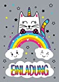 12 Einladungskarten Katze-Einhorn Kindergeburtstag Mädchen Unicorn Geburtstagseinladungen Einladungen Geburtstags-Party Kartenset
