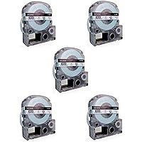 5 Compatibles Casetes LC-4WBN LC-4WBN9 SS12KW negro sobre blanco 12mm x 8m cintas para impresoras de etiquetas Epson LabelWorks LW-300 LW-300L LW-400 LW-500 LW-600P LW-700 LW-900P LW-1000P