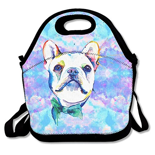 Funny Watercolor French Bulldogs Neoprene Lunch Bag -Lunch Boxes for Women,Kids,Adults Hop-pink Camo