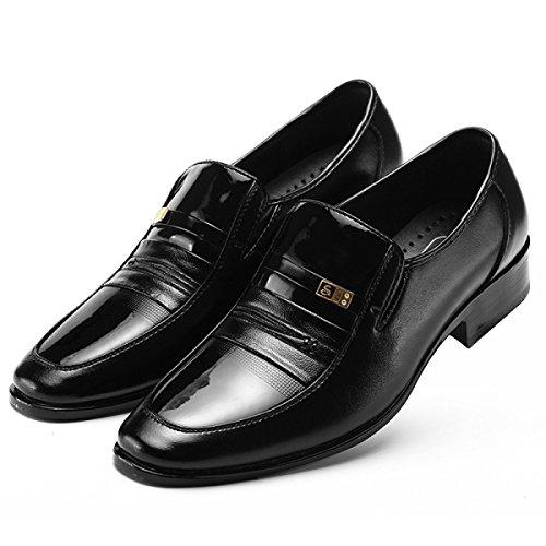 GRRONG Herren Lederschuh Mode-Geschäft-formales Kleid Schwarz Black
