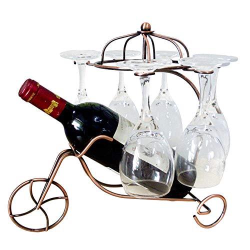 WHR-ZSP WeinstäNder Metall, Chariot Metall Wein Arbeitsplatte Lagerregal Dekoration Desktop Flaschenregal Schmiedeeisen ÜBerzogen Schwarz 33 * 24 * 31 cm,Bronze -