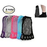 SANIQUE 5 pares Calcetines Antideslizantes para Yoga Pilates Ejercicios Deportivo