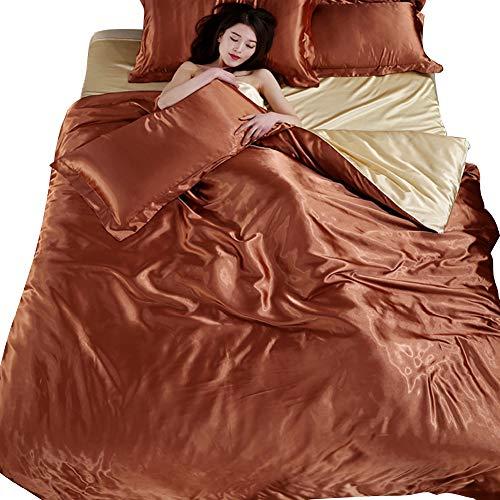 Generic Glanz Satin Bettbezug Bettwäsche Set 4-teilig in 3 Größen 13 Farben (220x240cm, Braun mit Khaki) -