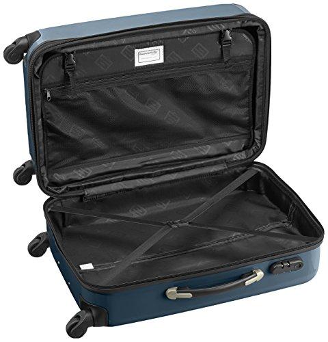 HAUPTSTADTKOFFER - Alex - 2er Koffer-Set Hartschale glänzend, 65 cm + 55 cm, 74 Liter + 42 Liter, Graphit-Blau Champagner-Waldgrün