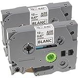 2 x Rubans Laminé pour Etiqueteuse Compatible Remplace Brother TZe-231 / TZ-231 / Noir sur Blanc / 12mm x 8m / pour Brother P-Touch 1000W 1010 1090 1830VP 2030VP 2100VP 2430PC 2470 2730VP 7100 VP7600VP H100R H300 D200VP et Autres P-Touch Étiqueteuse