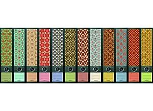 file art ordnerr cken design etiketten motiv pattern f r 12 breite aktenordner als. Black Bedroom Furniture Sets. Home Design Ideas